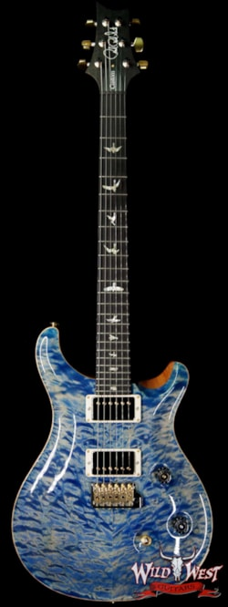 2019 PRS - Paul Reed Smith PRS Wood Library 10 Top Custom 24 Quilt Maple Top Ebony Fingerboard Faded Blue Jean