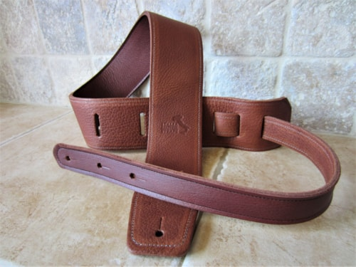 "2020 Italia Leather Straps 2.5"" Acorn-Cognac w/Leather Backing"