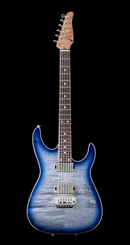 Tom Anderson Angel Flame Maple on Basswood - Abalone to Deep Ocean Blue Burst