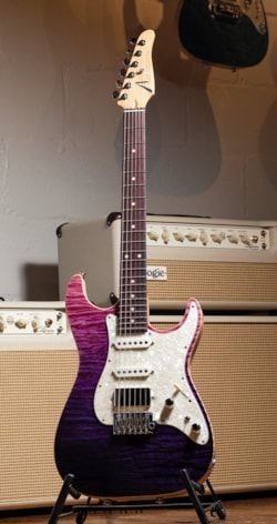 Anderson Guitarworks Tom Anderson Drop Top Shorty Flame Maple Top - Royal Purple Wipeout