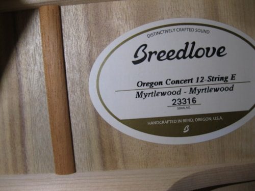 Breedlove Oregon Concert 12 String E Natural Myrtlewood, Brand New, Original Hard