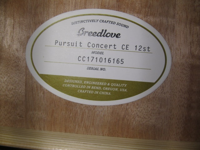 Breedlove Pursuit Concert CE 12st Natural, Brand New