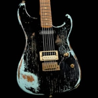 Charvel Custom Shop San Dimas HS Nitro Aged Roasted Alder Black over Sonic Blue