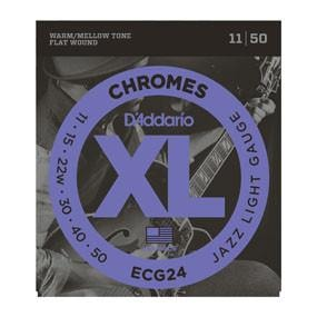 D'Addario ECG24 Chromes Flat Wound, Jazz Light, 11-50 Brand New $14.99