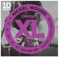D'Addario EXL120-10P Nickel Wound Super Light Electric Strings 9-42 - 10-Pack
