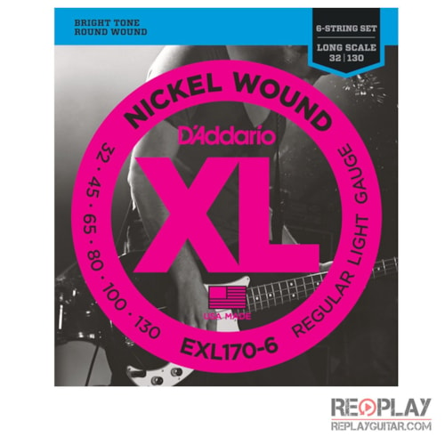 D'Addario EXL170-6 Nickel Wound 6-String Bass, Light, 32-130, Long Scale