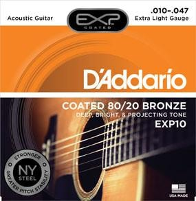 D'Addario EXP10 Coated 80/20 Bronze, Extra Light, 10-47 Brand New $10.99