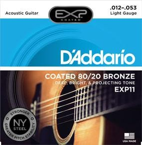 D'Addario EXP11 Coated 80/20 Bronze, Light, 12-53 Brand New $10.99
