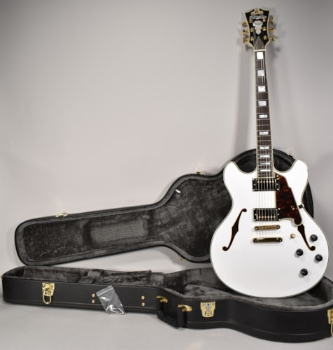 D'Angelico Excel EX-DC Semi-Hollow Electric Guitar White Finish w/OHSC