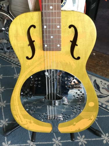 Dobro Duolian Hula Blues Resonator Guitar Yellow w/ Hula Graphic, Brand New