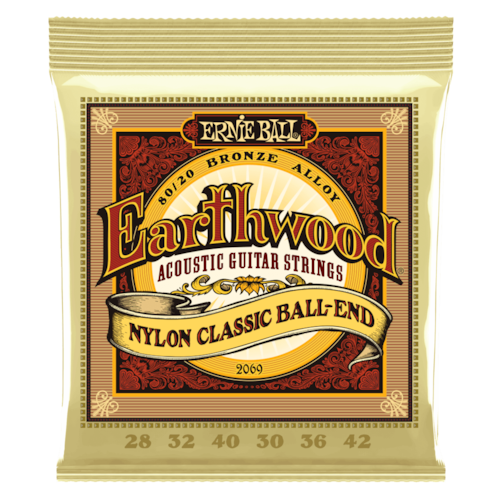 Ernie Ball EARTHWOOD FOLK NYLON, CLEAR & GOLD BALL END, 80/20 BRONZE ACOUSTIC GUITAR STRINGS Brand New $4.99