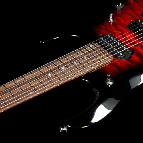 Ernie Ball Music Man Ball Family Reserve Petrucci BFR 7 Ruby Burst Quilt Excellent, $2,499.00
