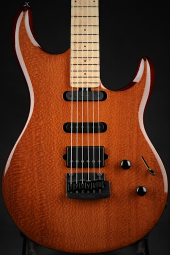 Ernie Ball Music Man Eddie's Guitars Exclusive BFR Luke III HSS - Leopard Wood/Roasted Birdseye Map