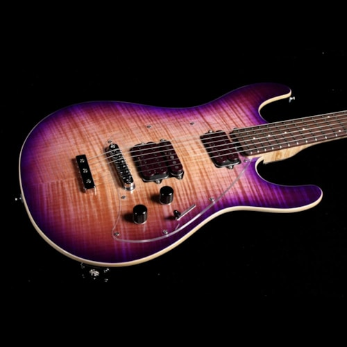 Ernie Ball Music Man Steve Morse Y2D Signature Flame Top Purple Sunset Brand New, $2,399.00