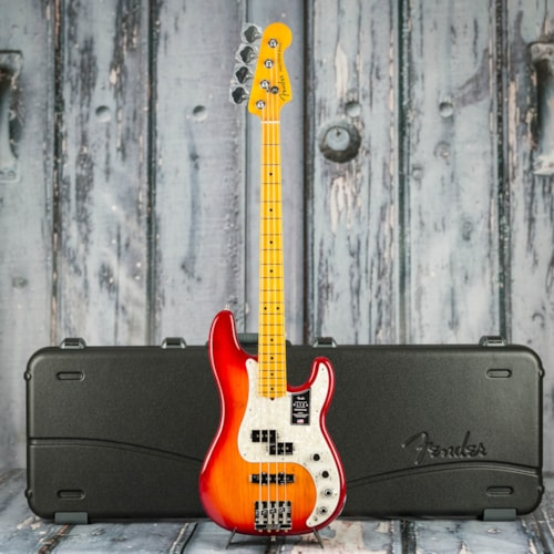 Fender American Ultra Precision Bass, Maple Fingerboard, Plasma Red Burst