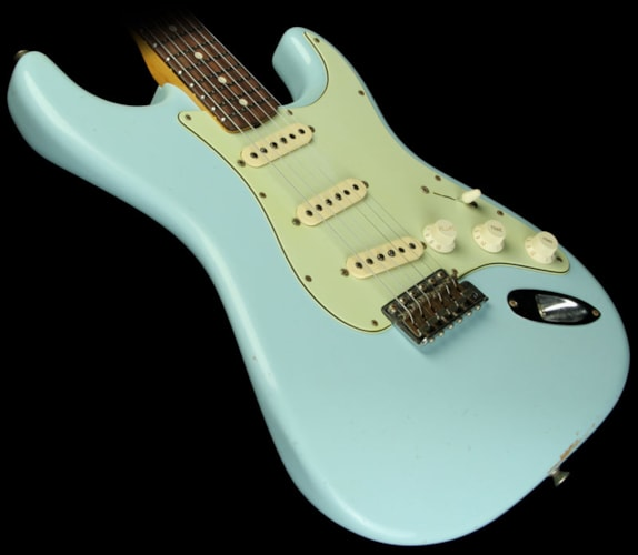 Fender Custom Shop '60 Relic Stratocaster Guitar Sonic Blue Matching Headstock Sonic Blue, Brand New, $3,800.00