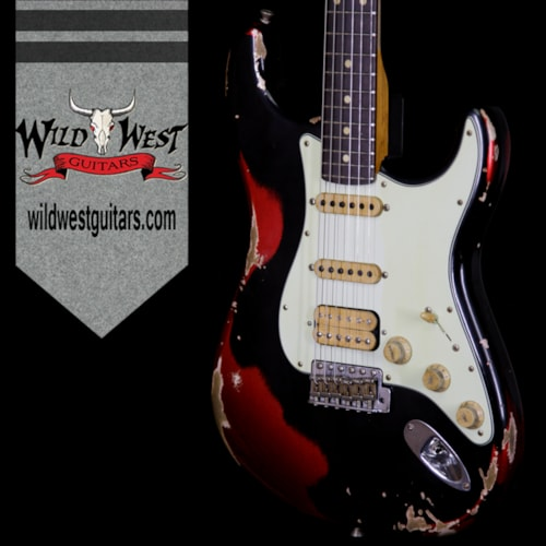 Fender Custom Shop Black Lightning 2.0 Stratocaster Heavy Relic HSS 22 Frets Rosewood Board Candy Apple Red Black over Candy Apple Red, Brand New, $4,799.00