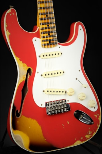 Fender LTD NAMM 1956 Thinline Stratocaster Journeyman Heavy Relic - Aged Coral Pink over Chocolate