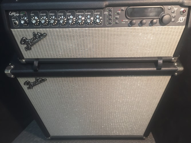 Fender® Cyber Twin Head with Showman® 412S Stereo Cabinet Black Tolex Silver Grille, Near Mint