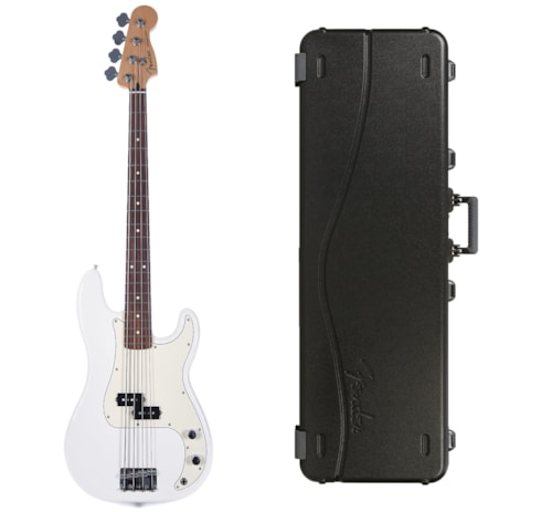 Fender Player Precision Bass Polar White Bundle w/Fender Molded Hardshell Case