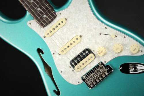 Fender Rarities Stratocaster Thinline HSS, Solid Rosewood Neck - Mystic Seafoam Green/B Stock