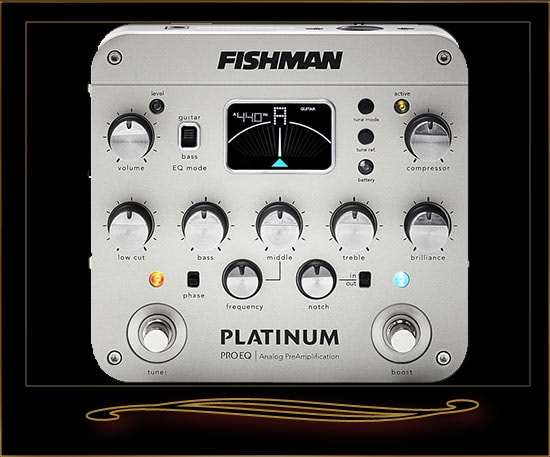 Fishman Platinum Pro EQ/DI Analog Preamp for Acoustic Guitar Silver, Brand New