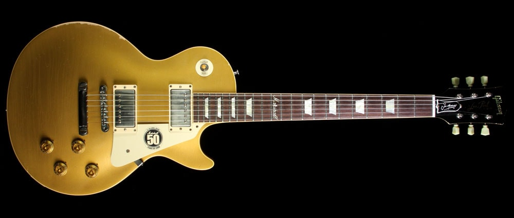 2012 Gibson Custom Shop Used 2012 Gibson Custom Shop 50th Anniversary of Marshall Les Paul Electric Guitar Murphy Aged Goldtop