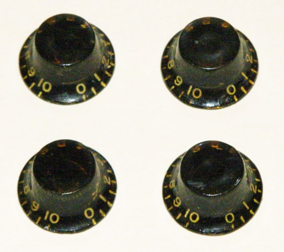 Gibson vintage Knobs  set of 4 from 1 guitar Black '55 - '60, Excellent, $375.00
