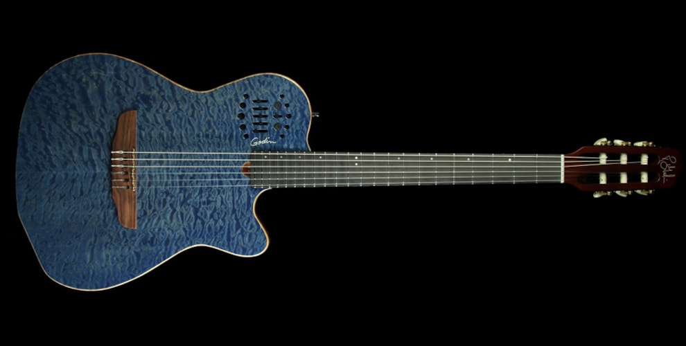 Godin Special Edition ACS Nylon String Electric Guitar Blue Quilt Brand New, $1,495.00