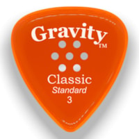 Gravity Picks Classic Standard Multi-Hole Polished Pick, 3mm, Orange