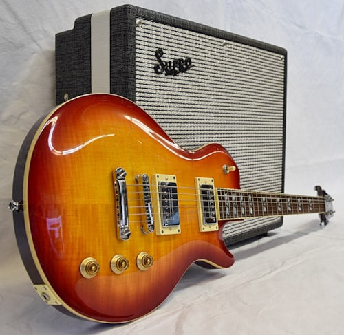 Hamer Monaco carved top Cherry sunburst
