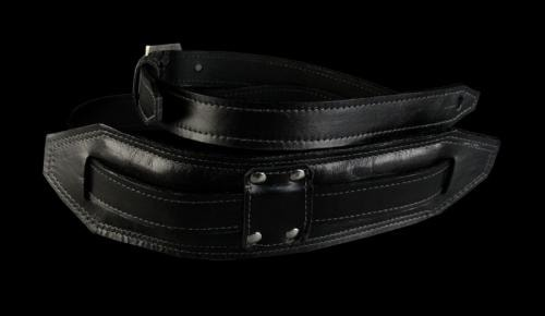 Heavy Leather NYC Handmade USA Rebel Guitar Strap Rebel Black with Silver Buckle Brand New, $130.00