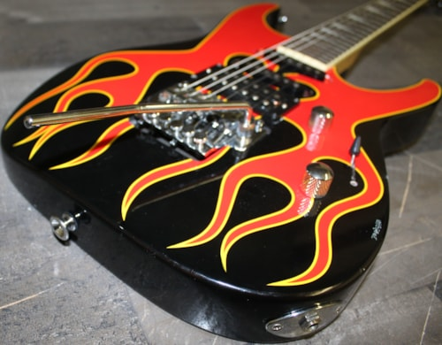 1999 Jackson Dinky II Black with Red Flame Top