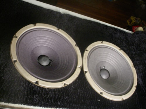 Pair (2) 1962 Fender Oxford Bell Back Speakers 8 Ohm For '62 Fender Super or Concert Reconed
