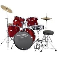 PERCUSSION PLUS 5pc et w/ Hardware and Cymbals PP4100 Brushed Red