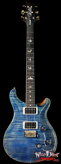 2019 PRS - Paul Reed Smith PRS Wood Library 10 Top Custom 24 Fatback Flame Maple Top Brazilian Rosewood Fingerboard Faded Blue Jean