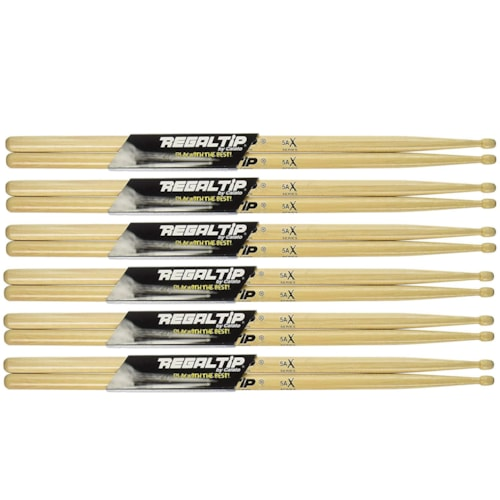 Regal Tip 5AX Wood Tip Drumsticks (6 Pair Bundle)