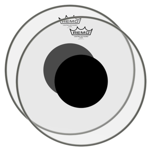 """Remo 26"""" Controlled Sound Clear Black Dot Bass Drumhead Top Black Dot 2 Pack Bundle"""