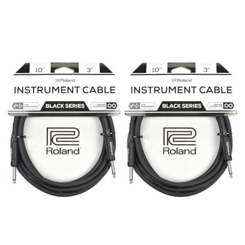 """Roland Black Series 10ft A//S 1//4"""" Instrument Cable"""