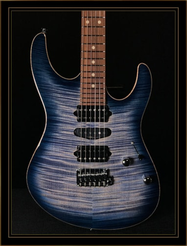 Suhr Modern Plus with Pau Ferro Fingerboard in Faded Transparent Whale Blue Burst