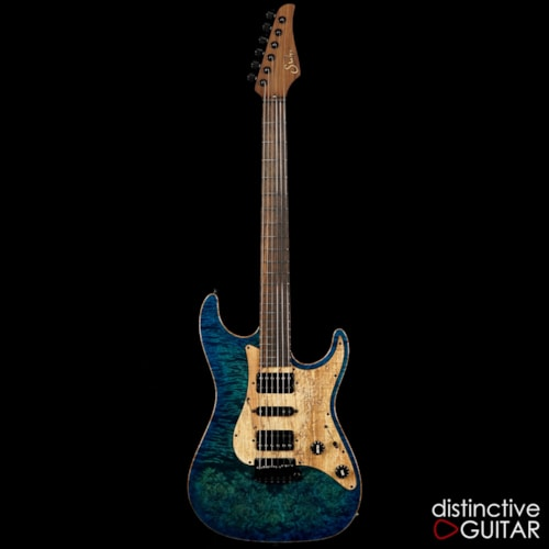 Suhr  Standdard Custom Aqua Blue Burst Waterfall Burl