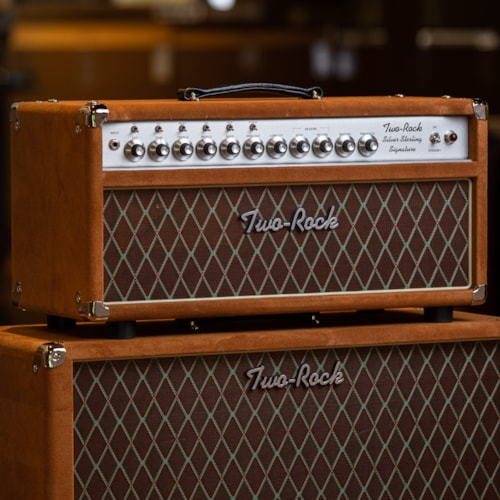 Two-Rock Silver Sterling 100/50 Head and 2x12 Cabinet - Golden Brown Suede/Silver Anodize Chassis/Brown Diamond Grille