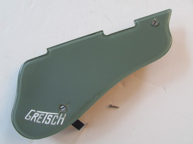 Vintage Original 1961 Gretsch Green Pickguard with Original Mounting Bracket for Double Anni.
