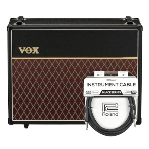 "Vox V212C 2x12"" Speaker Cabinet w/Celestion G12M Greenback Speakers Cable Bundle"