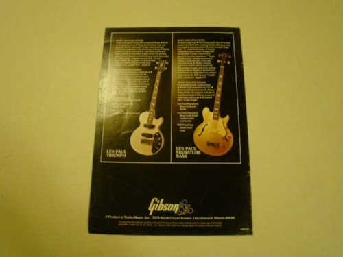 1975 Gibson Bass Pamphlet/ LARGE!