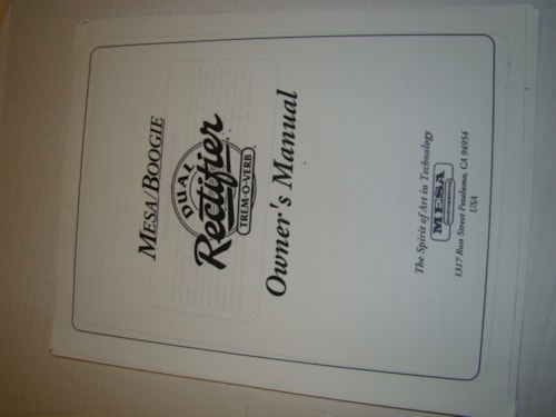 1995 Mesa Boogie Dual Rec Trem-O-Verb Owners Manual (Xerox copy)