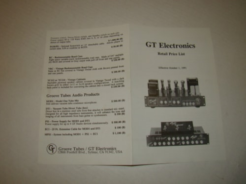 1991 Groove Tube Electronic Catalog Flyer