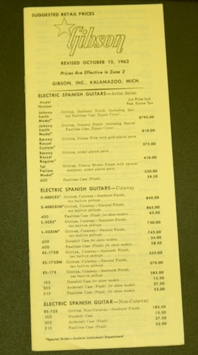 1962 Gibson 1962 Full Gibson Price List - Zone 2