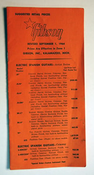 1964 Gibson 1964 Gibson Price List