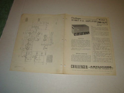 1960 Challenger PA Amplifier Instr. Book,Oper.Guide